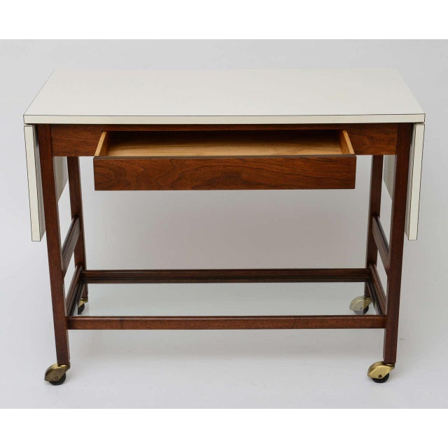 John Stuart Danish Drop Leaf Rolling Bar Server - Image 4 of 9