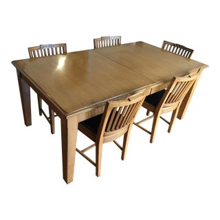 Dining Table and Leather/Wood Chairs - Set of 6