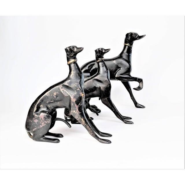 Bronze Greyhound Dog Statues - Set of 3 - Image 8 of 11
