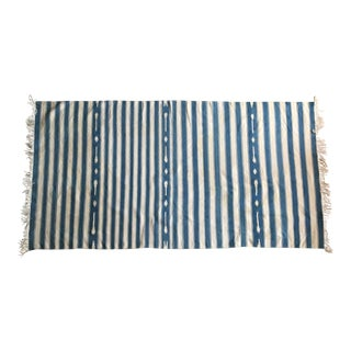 Vintage Blue and White Cotton Dhurrie Rug - 3′8″ × 7′9″