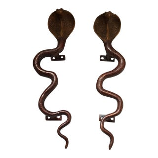 Hollywood Regency Brass Cobra Door Handles- a Pair
