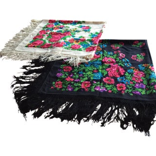 Colorful Floral Vintage Russian Throws - A Pair