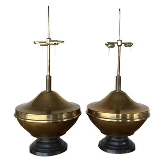 Vintage Brass Oversized Lamps - Pair