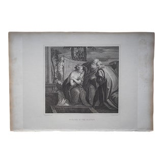 "Antique Copperplate Engraving By Veronese-""Susanna And The Elders""-c.1807-Folio Size"