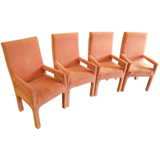 Image of Parsons Dining Chairs in Desert Rose Velvet - Set of 4
