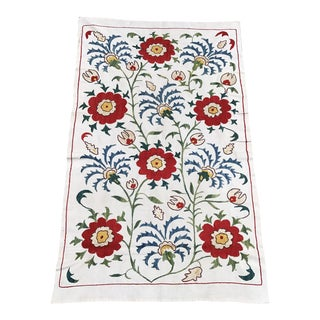 16th Century Design Floral Tablecloth Handmade Suzani Fabric