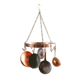 Copper Pots & Rack - Set of 6