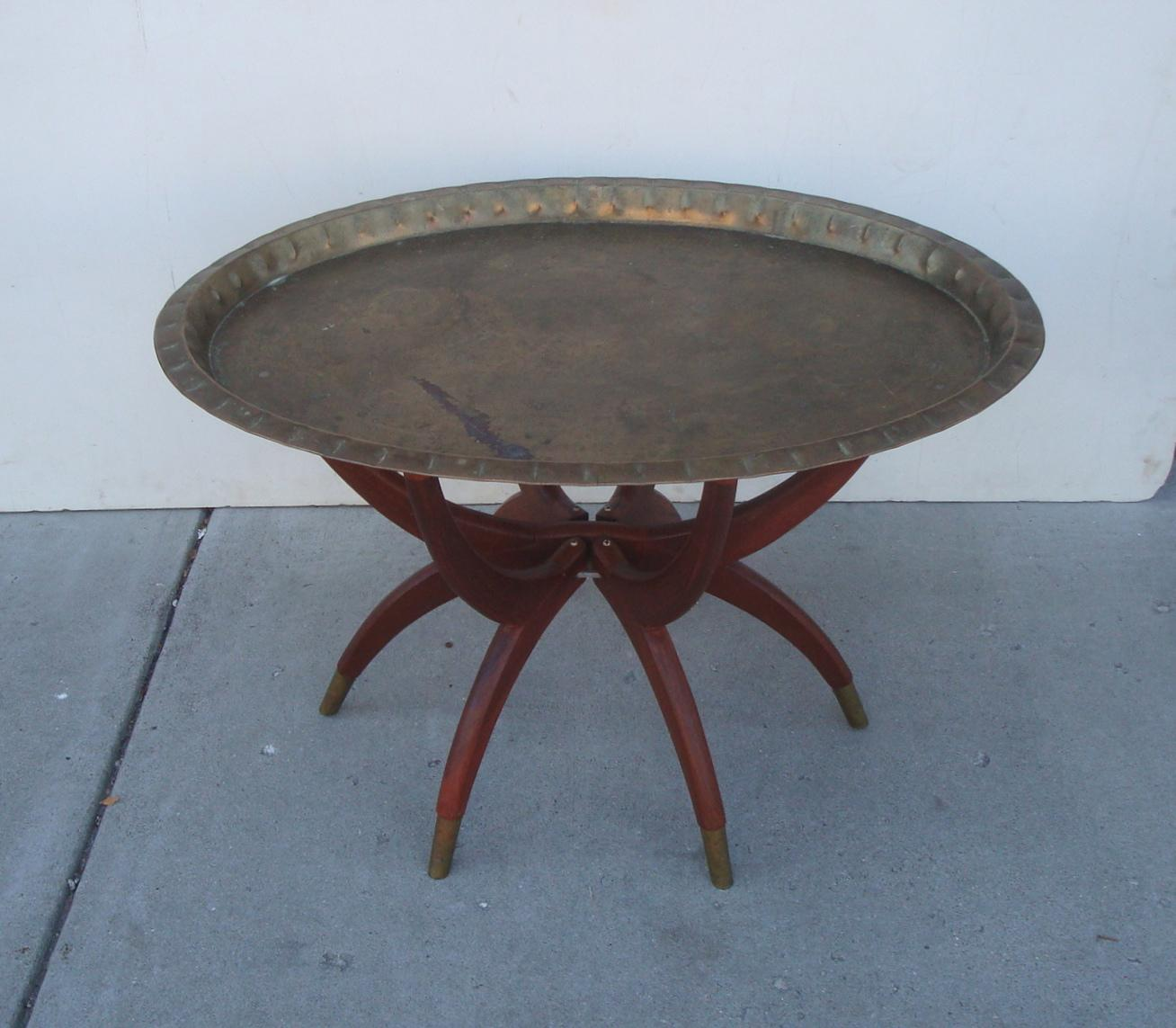 Oval Moroccan Teak U0026 Brass Spider Leg Tray Table   Image 2 ...