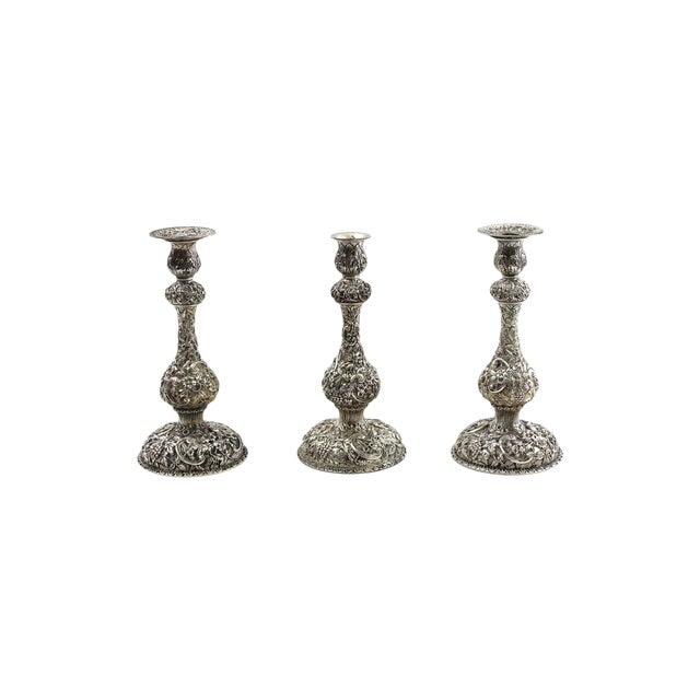1900s Sterling Repousse Candlesticks - Set of 3 - Image 1 of 6