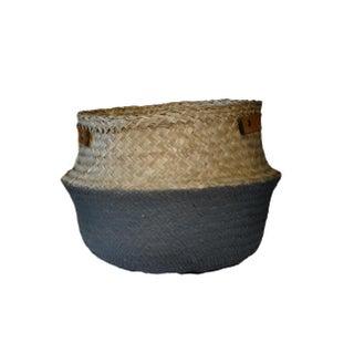 Leather Handled Belly Basket - Grey Medium