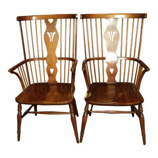 Leopold Stickley Cherry Windsor Arm Chairs- A Pair