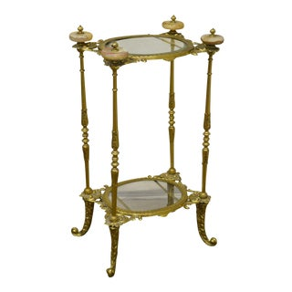 Victorian Brass Glass & Onyx 2 Tier Plant Stand