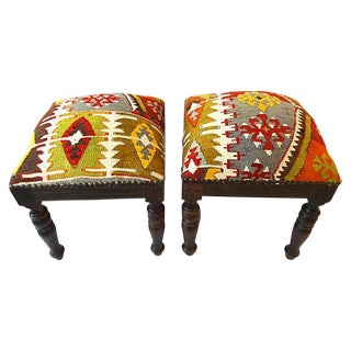 Stools With Antique Caucasian Kilim -- A Pair