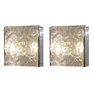 Pair of Textured Venini Murano Sconces