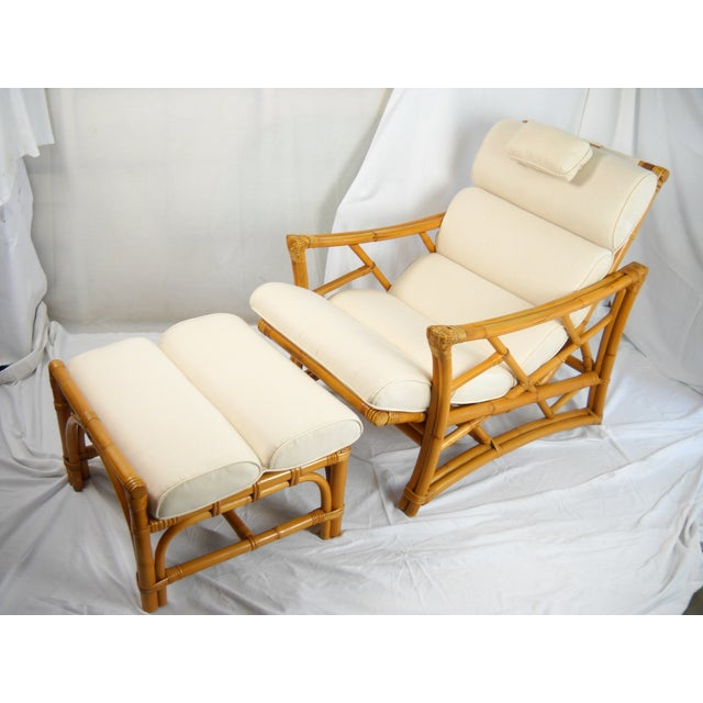 1950 39 s rattan chaise lounge and ottoman chairish for 1950 chaise lounge