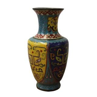 Chinese Metal Blue Yellow Enamel Cloisonne Vase Shape Figure