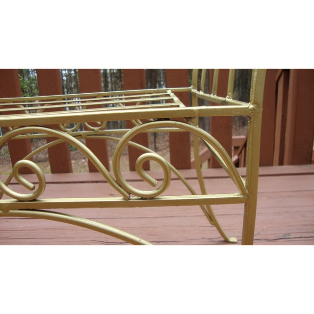 Metal French Art Deco Scroll Bench in Gold Tone - Image 5 of 11