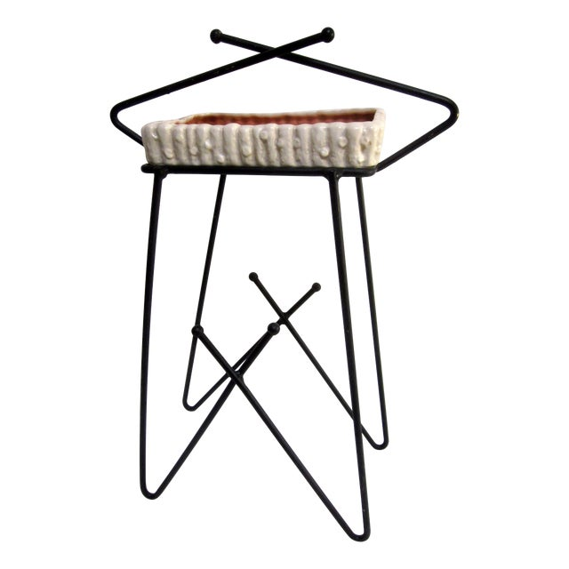 Mid-Century Modern Hairpin Atomic Ashtray Stand - Image 1 of 6