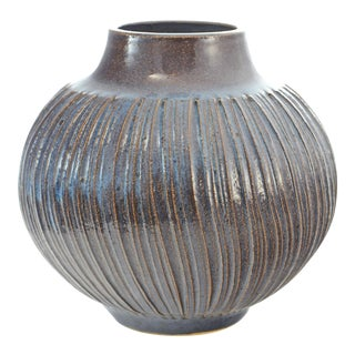 Blue Textured Studio Vase