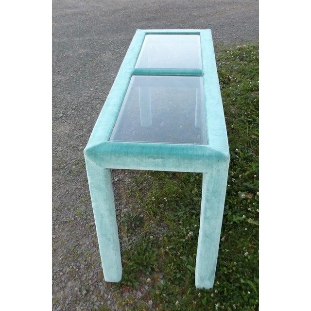 Teal Sofa Table: Mid-Century Modern Teal & Glass Sofa Console Table