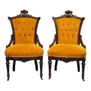 Antique Victorian Carved Walnut Fireside Side Chairs - A Pair