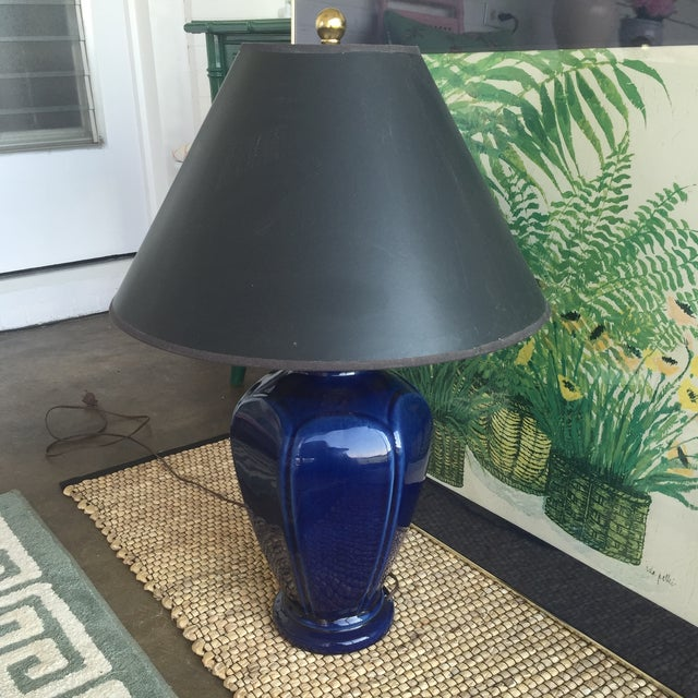 Mid Century Modern Royal Blue Drip Glaze Ceramic Table Lamp - Image 11 of 11