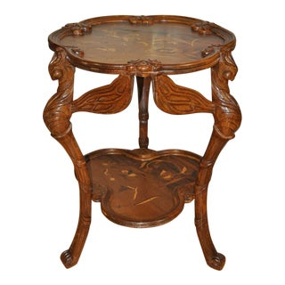 Galle Art Nouveau Style Carved Dragonfly Table With Floral Marquetry Artwork