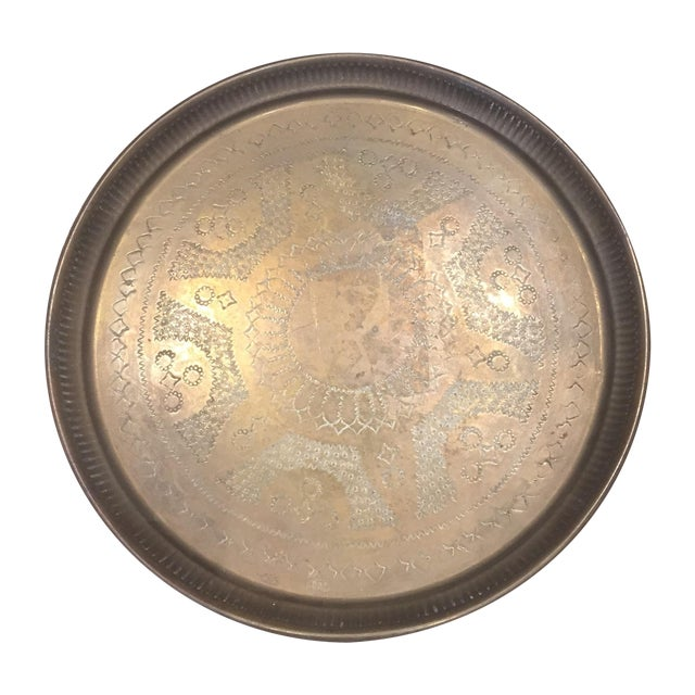 Image of Vintage Engraved Brass Tray