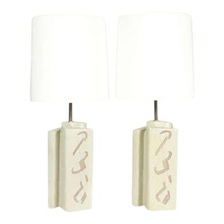 Marianna Von Allesch Cubist Twisted Ceramic Table Lamps - a Pair