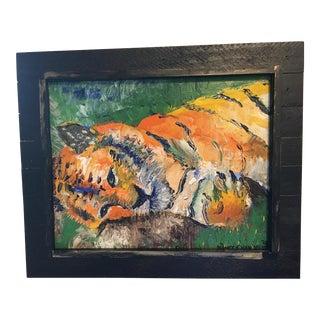 Original Framed Tiger Oil Painting