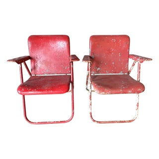 Vintage Red 1950s Folding Chairs