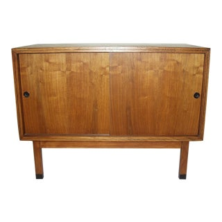 Mid Century Modern Walnut Record Cabinet or Mini Credenza in the Style of George Nelson