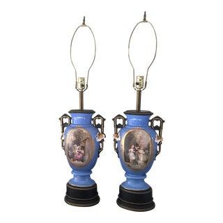Vintage Victorian Blue Porcelain Lamps - A Pair