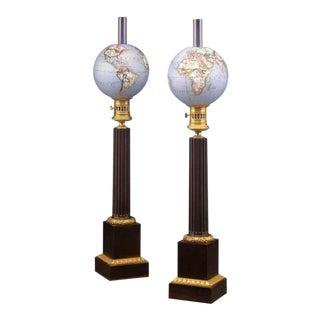 French Opaline Globe Oil Lamps