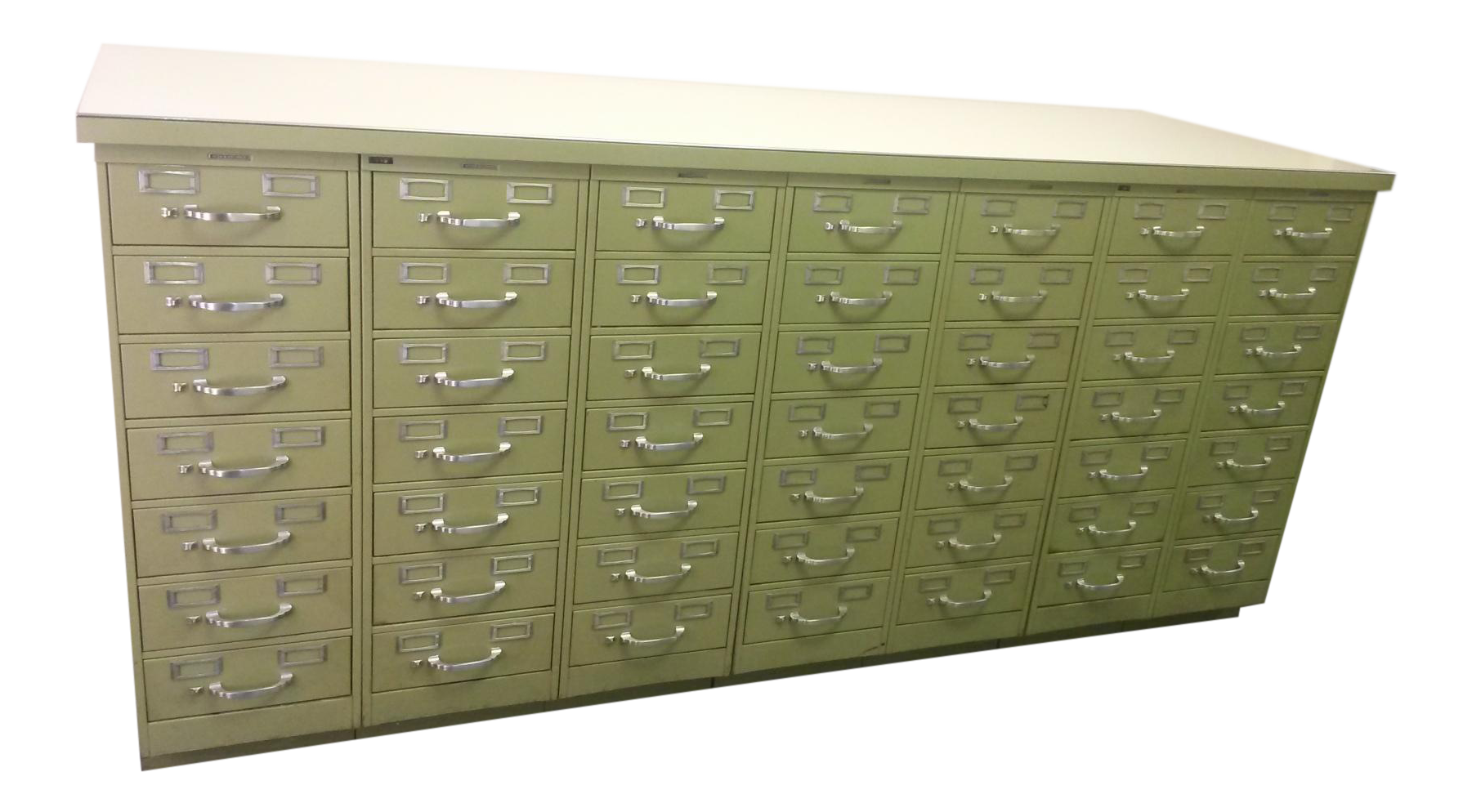 Vintage Industrial Steelcase Index Card Filing Cabinet Set\