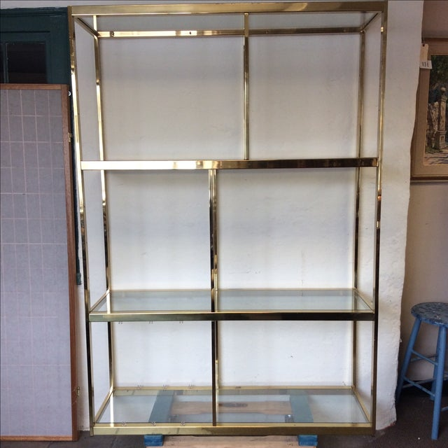 Brass Etagere With Glass Shelves - Image 3 of 7