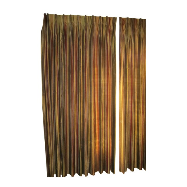 Striped Silk Drapery Panels - Image 1 of 4