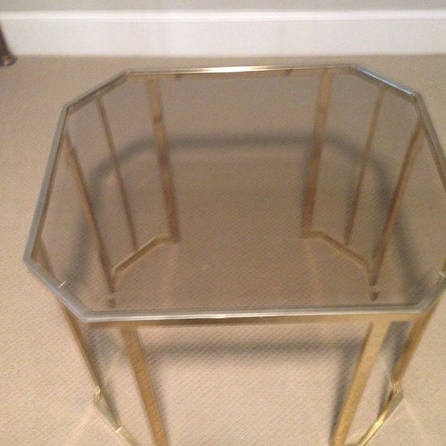 Glass & Brass Side Table - Image 2 of 7