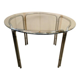 Vintage Round Chrome and Glass Dining Table