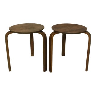 Alvar Aalto Style Stacking Wood Stools or Side Tables - A Pair