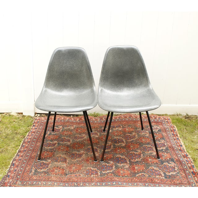 Gray Eames Fiberglass Shell Chairs - A Pair - Image 4 of 10
