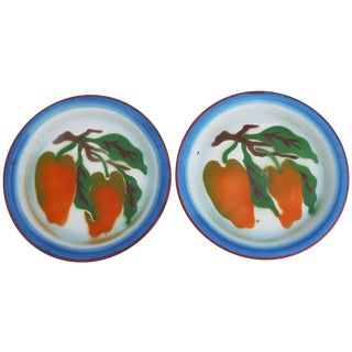 French Country Enamel Pepper Plates - A Pair
