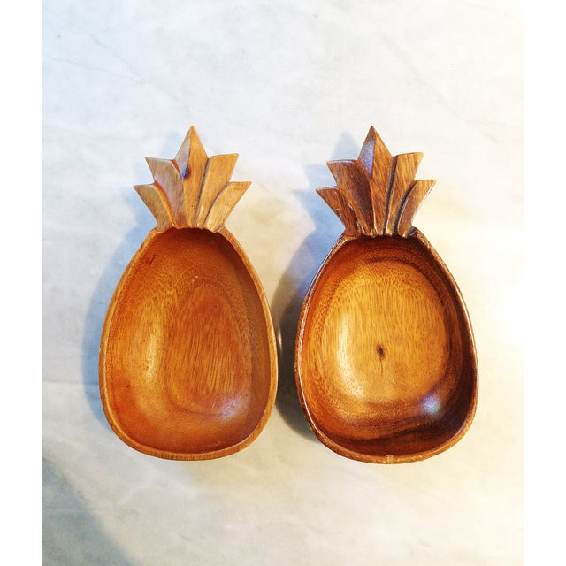 Vintage Monkey Pod Wood Pineapple Bowls - A Pair - Image 2 of 3