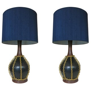 Mid-Century Pottery Gold Tone Chain Lamps - Pair