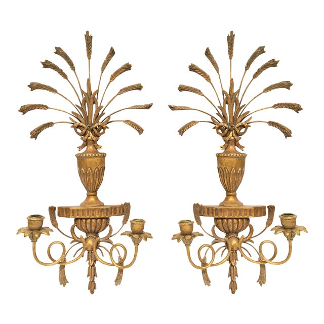 Italian Made Wall Sconces : Italian Gilt Hand-Carved Wall Sconces - Pair Chairish