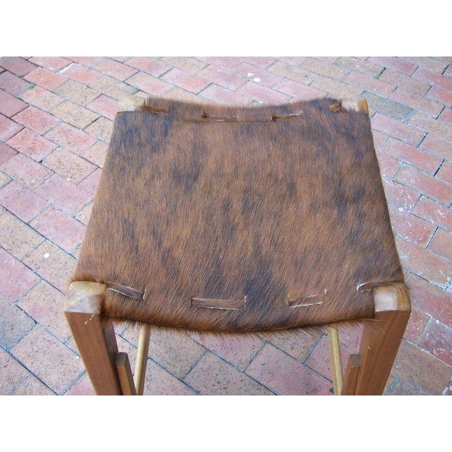 Image of Pair of Architectural Frame Cowhide and Wood Barstools