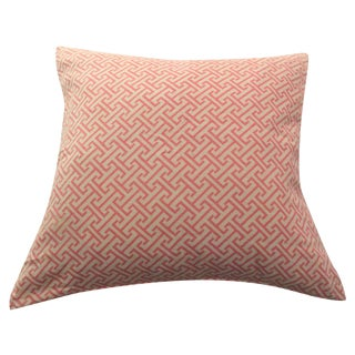 Pink Greek Key Square Pillow Cover