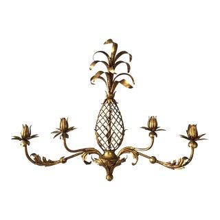 Pineapple Gilt Metal Wall Candle Holder
