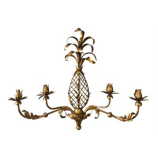 Pineapple Gilt Metal Wall Candle Holder