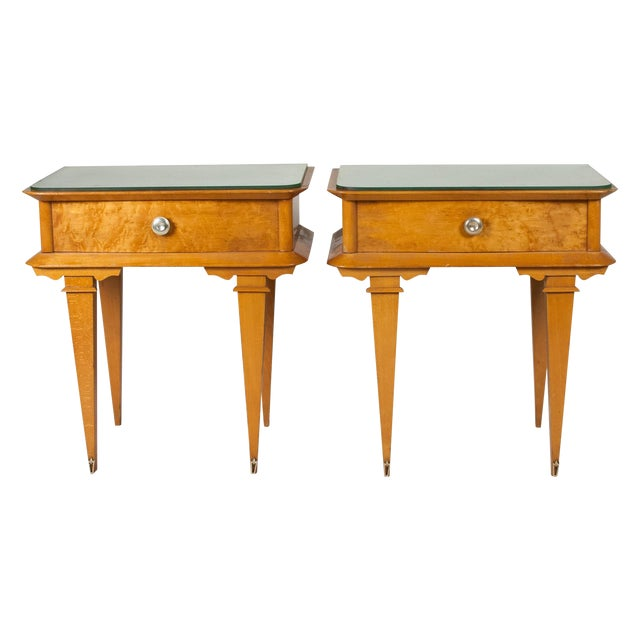 Vintage 1940s French Sycamore End Tables - A Pair - Image 1 of 10